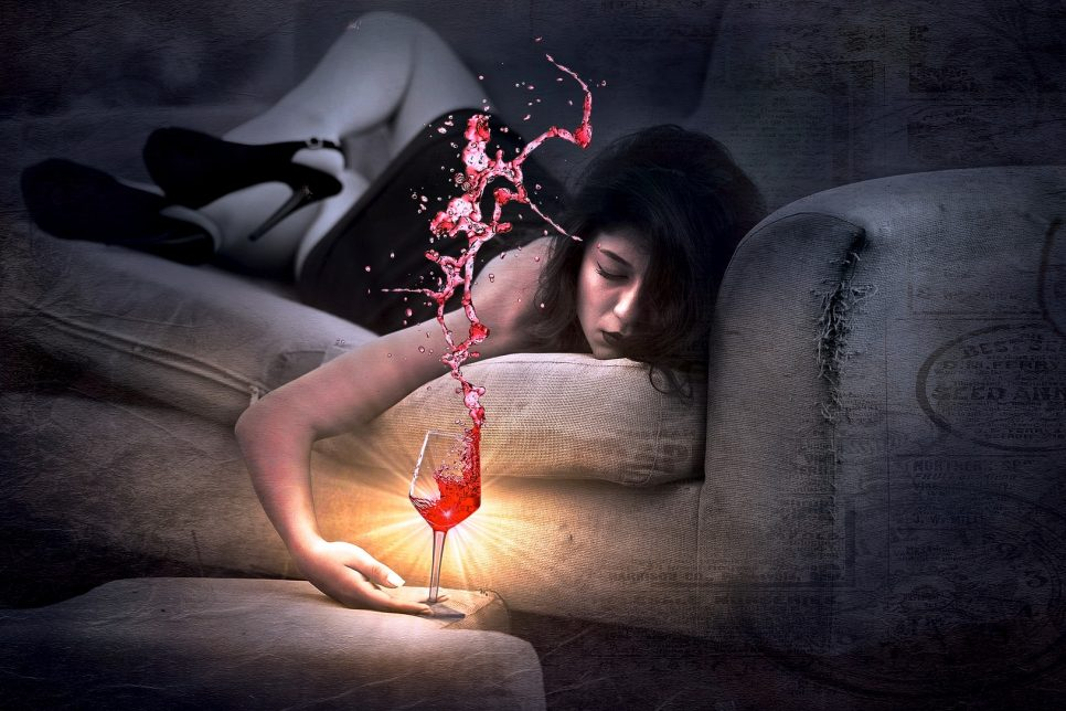 Girl on Couch Asleep Spilling Wine