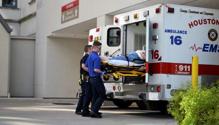 Paramedics emptying ambulance